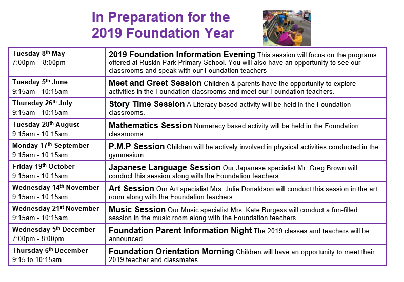 2019 Foundation Transition Schedule