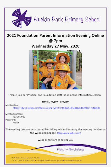 2021 Foundation Information Evening, Wednesday 27th May